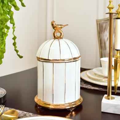 DEVY 歐式創意鳥籠陶瓷收納罐現代簡約客廳樣板間裝飾收納擺件
