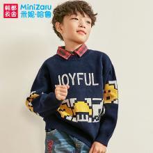 米妮哈鲁童装2018冬装新款男童韩版儿童毛衣中大童针织衫ZE8594樂