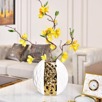 墨菲 現代簡約創意鏤空電鍍花瓶歐式客廳電視柜玄關酒柜工藝品擺件