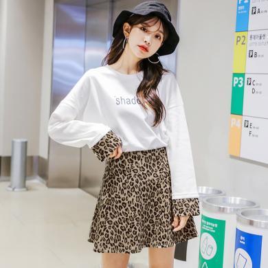 韓都衣舍2018新款冬裙兩件套豹紋長袖時尚套裝女LU8537荃1203