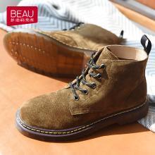 BEAU 马丁靴女短筒靴新款秋?#23621;?#20262;风短靴子粗跟及踝靴女鞋03426
