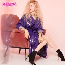 妖精的口袋Y風衣外套秋裝2018新款長袖純色長款紫色皮質大衣女R