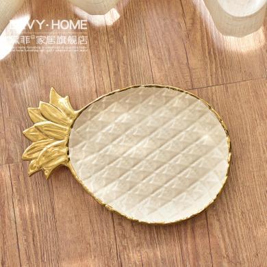 DEVY 欧式轻奢陶瓷首饰托盘创意干果盘现代简约客厅酒柜装饰摆件