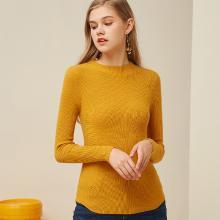 熙世界黃色毛衣女2018秋裝新款半高領修身長袖打底針織衫113LA110