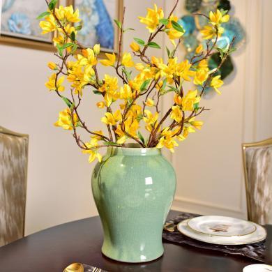 墨菲 新中式古典單色釉陶瓷花瓶擺件客廳家居創意軟裝花藝套裝