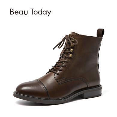 BT 馬丁靴女秋冬季粗跟皮英倫風短靴子平底加絨女鞋中筒03086