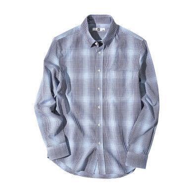 墨麦客男装长袖格子衬衫男静格休闲衬衣韩版修身薄款上衣5439