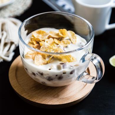 摩登主妇 欧式钢化玻璃杯带把牛奶杯子透明咖啡杯家用奶茶麦片杯