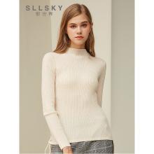 熙世界半高領毛衣女2018秋冬新款簡約修身打底羊毛針織衫117LA052