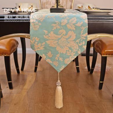 DEVY 美式復古家居餐桌桌旗桌墊歐式創意茶幾桌布布藝桌墊
