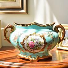 墨菲 美式陶瓷花瓶復古裝飾擺件 歐式客廳餐桌仿真干花藝插花器