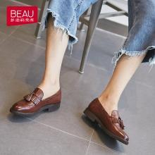 BEAU 樂福鞋女新款秋季英倫風女鞋粗跟布洛克流蘇單鞋女鞋A21046