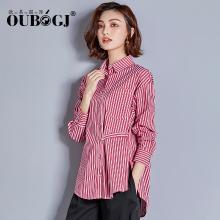OUBOGJ 红条纹衬衫女长袖休闲女装秋装新款韩版个性衬衣宽松潮18C26011
