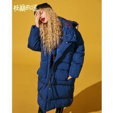 妖精的口袋Y連帽羽絨服女2018新款韓版顯瘦寬松修身中長款秋冬裝R