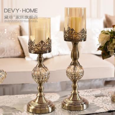 DEVY歐式輕奢創意金屬鏤空燭臺美式家居餐桌客廳家居裝飾品擺件