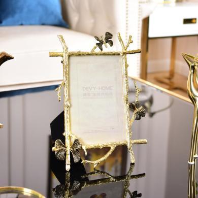 DEVY歐式輕奢金屬組合相框創意照片掛墻婚紗照擺臺相架相框6寸7寸