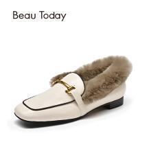 BT 鞋子女毛毛鞋女秋單鞋平底小皮鞋英倫風樂福鞋27817