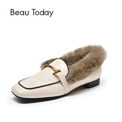 BT 鞋子女毛毛鞋女秋单鞋平底小皮鞋英伦风乐福鞋27817