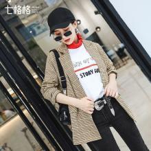 新品 七格格 西服女2018新款韩版休闲chic格子小西装外套女春秋装时尚潮