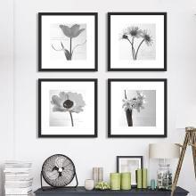 墨菲 有框组合装饰画客厅现代简约黑白花卉卡纸画沙发背景墙挂画