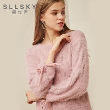 熙世界粉紅色毛衣女2018秋裝新款甜美套頭長袖打底針織衫117LA112