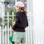 新品 七格格 撞色格子針織衫秋裝女2018新款寬松套頭chic罩衫慵懶風毛衣