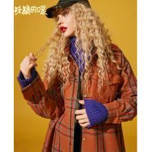 妖精的口袋Y毛呢外套女韩版中长款宽松秋冬装2018新款格子呢大衣R