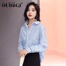 OUBOGJ 蓝条纹衬衫女套头衫镂空上衣秋装新款韩版v领衬衣宽松18C10018