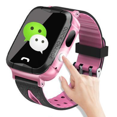 柏族 兒童電話手表超強防水觸摸屏GPS定位語音監護兒童智能手表手(粉色)