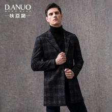 狄亚诺男士羊毛呢子大衣男修身中长款英伦休闲外套2018秋冬装新款  240857
