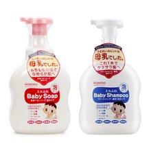 日本WACODO和光堂婴儿温和牛奶泡沫洗发水+沐浴乳(450ml+450ml)