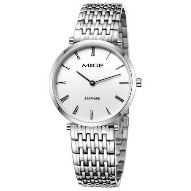 MIGE米格手表倩影系列石英表 休閑圓形指針式水鉆情侶表腕表對表