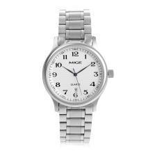 米格正品精钢30M生活防水圆形石英表女时尚潮流男表蓝针情侣手表