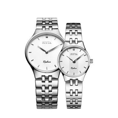 飛亞達(FIYTA)手表 卓雅系列石英情侶表 白盤鋼帶G/L246.WWWD