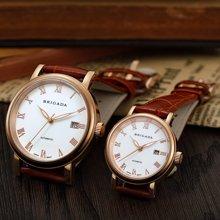 宝茄达 情侣手表一对机械表正品钢带简约时尚腕表真皮带BJD-1028棕带