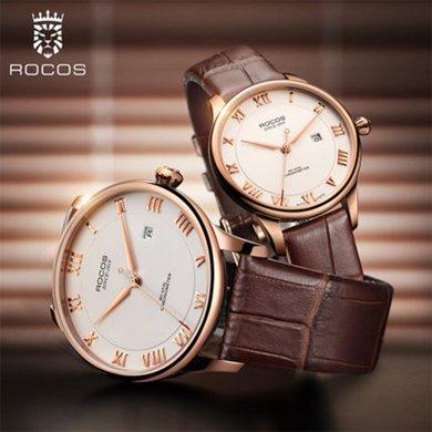 雷克斯正品復古時尚情侶表一對表新款全自動機械手表男女皮帶防水