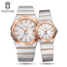 雷克斯正品钢带情侣手表一对表全自动机械表男女防水时尚潮流新款