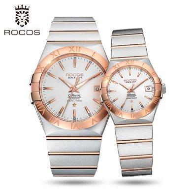 雷克斯正品鋼帶情侶手表一對表全自動機械表男女防水時尚潮流新款