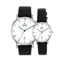 BOSS手表 简约时尚潮流罗马字大盘三针日历情侣表 进口石英白银情侣对表