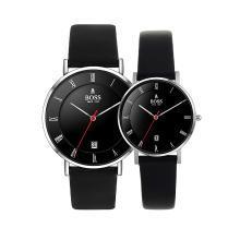 BOSS手表 简约时尚潮流罗马字大盘三针日历情侣表 进口石英黑银情侣对表