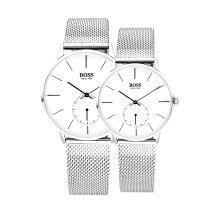 BOSS手表 简约系列情侣石英机芯白银手表白银情侣对表