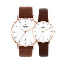 BOSS手表 简约时尚潮流罗马字大盘三针日历情侣表 进口石英白玫情侣对表