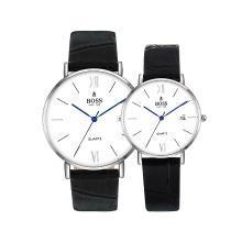 BOSS手表 时尚潮流黑面三针日历情侣表 皮带防水情侣石英手表