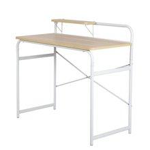 雅客集WN-13183白橡色家用电脑桌 家用简易书桌 带书架办公桌