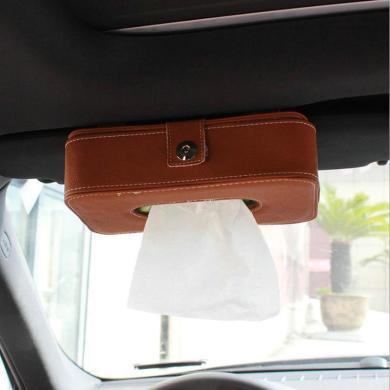 卡飾得 汽車多功能超纖皮紙巾盒 車用遮陽板紙巾袋 車載紙巾箱 棕色