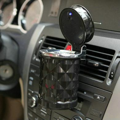 卡饰得 车用烟灰缸 钻石切面 车载移动烟灰缸 带led灯发光 翻盖式