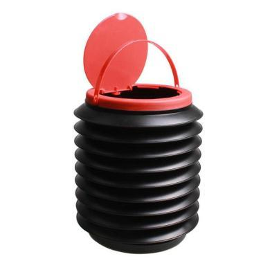 卡飾得 汽車伸縮垃圾桶 車用多功能雨傘桶 車載折疊收納桶 多功能置物袋 4L 帶蓋