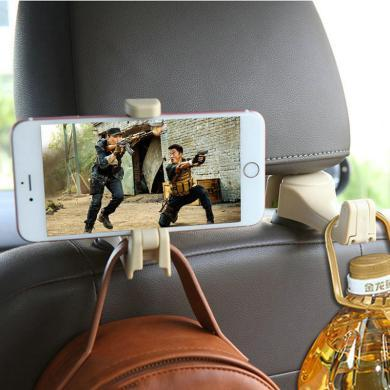 卡饰得  车载椅背挂钩手机架 车内置物袋 饮料挂 创意嵌入式头枕 2个*对装