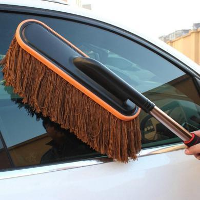 卡飾得 汽車純棉蠟拖 洗車蠟刷 除塵刷 車撣子不銹鋼柄 伸縮式拖把 750G