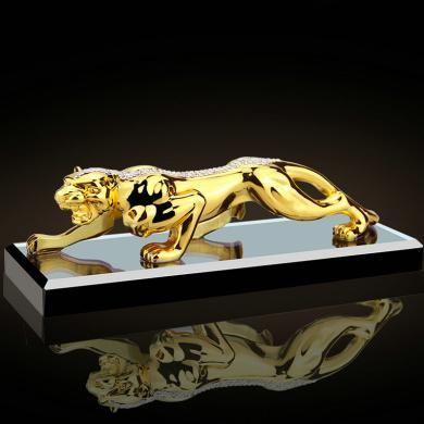 卡飾得 金錢豹擺件 車載工藝品 車用高檔工藝品 歐式裝飾品 金錢到 22CM